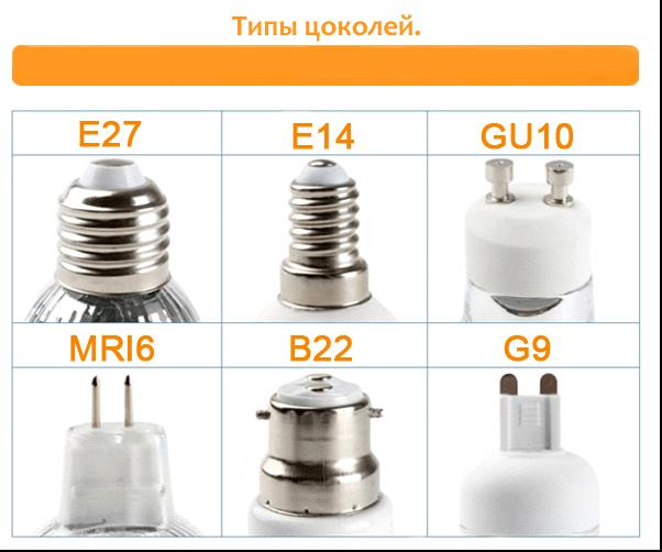 разные цоколи светодиодных ламп