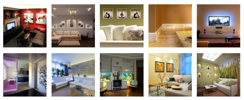 Декорирование светом, 10 комнат