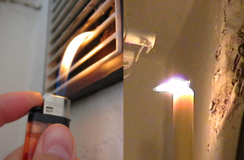 зажигалка и свеча возле вентиляции