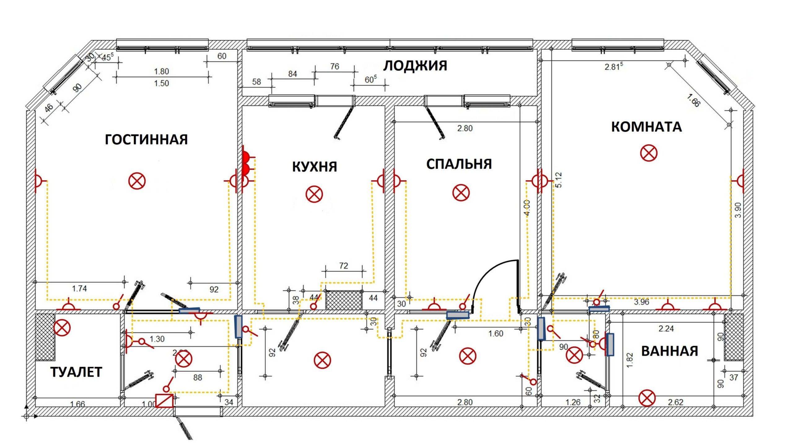 Схема электропроводки в квартире с 3-мя комнатами