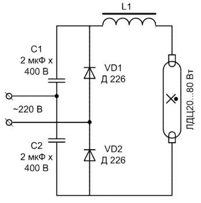 Схема подключения источника дневного света с диодами и конденсаторами