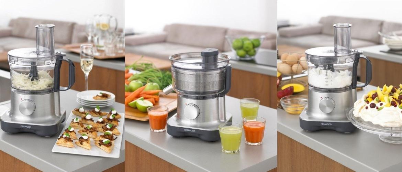 3 картинки с кухонным комбайном и едой, напитками