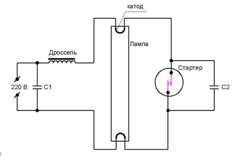 Схема подключения источника дневного света с дросселем