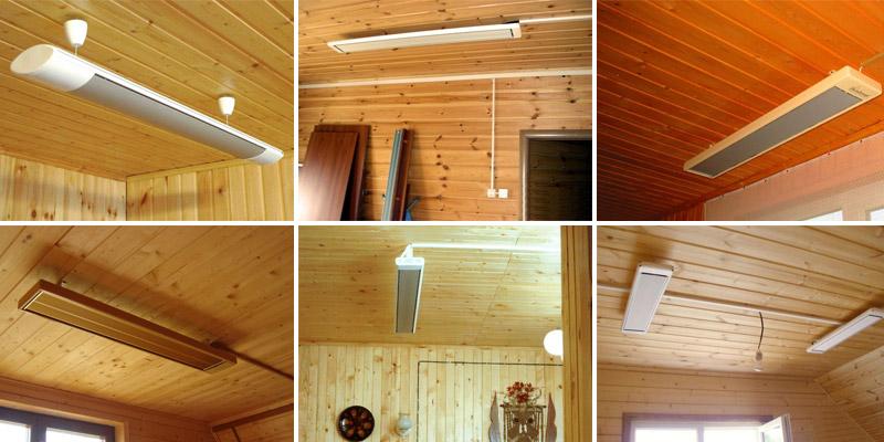 6 картинок комнат потолочный инфракрасный обогреватель
