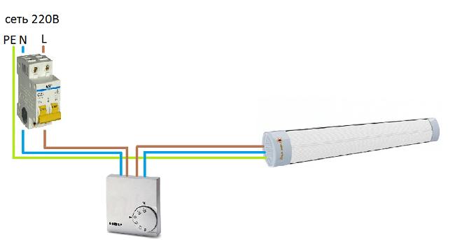 Схема подключения нескольких нагревателей с использованием терморегулятора
