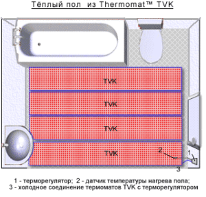 Схема размещения термомата для теплого пола под плитку в ванной комнате