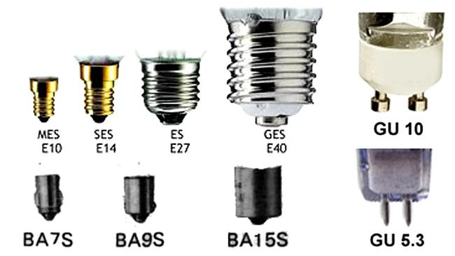 Основные типы цоколей светодиодных светильников, параметры