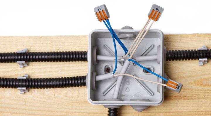 провода в коробке, требования к монтажу электропроводки