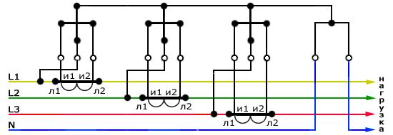 Десятипроводная схема трехфазного счетчика, подключение через ТТ