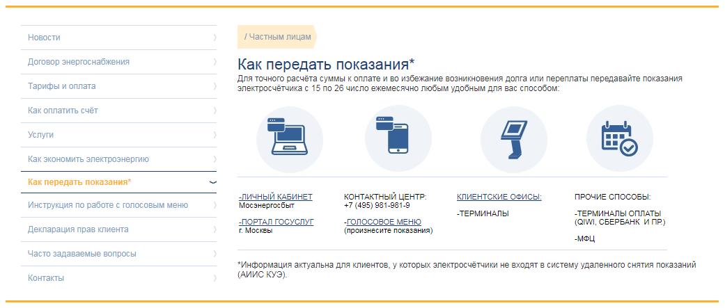 Сайт Мосэнергосбыта, счетчик, передача данных