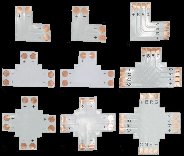 Угловые соединения фото, светодиодных частей лент