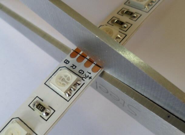 Правильное разрезание светодиодного куска ленты для соединения