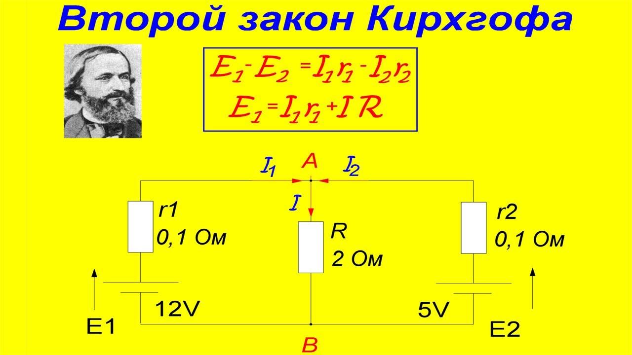 Второй закон Кирхгофа, фото, схема