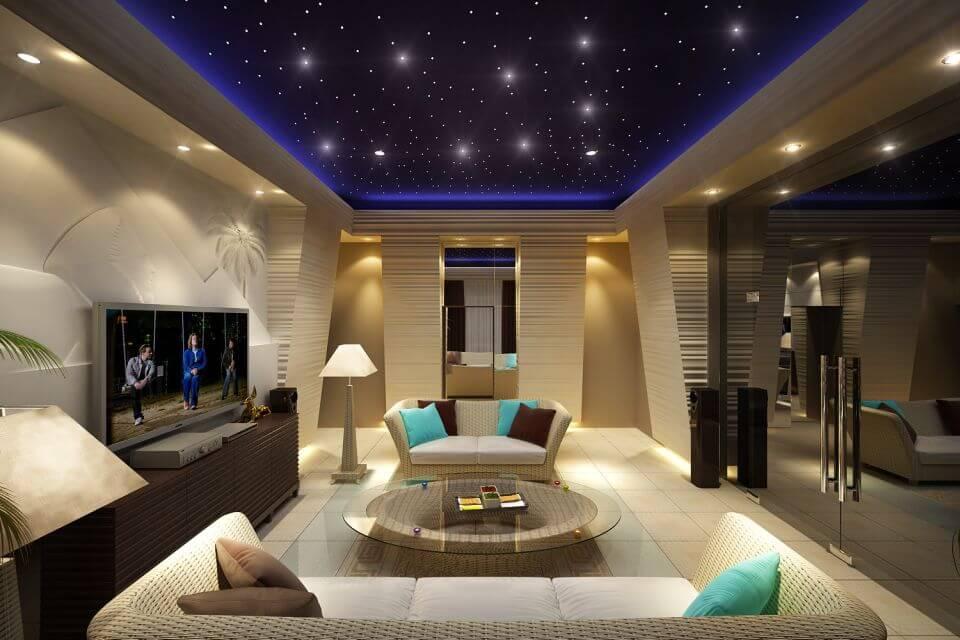 """освещение в гостиной потолок """"звездное небо"""", вариант"""