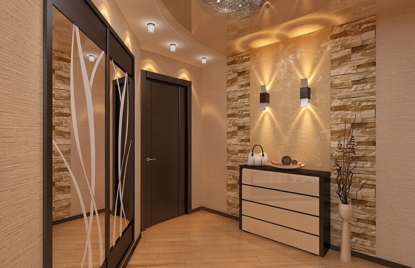 потолок в маленьком коридоре, вариант освещения