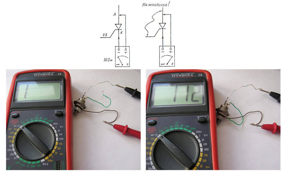 проверка тиристоров еще один способ мультиметром