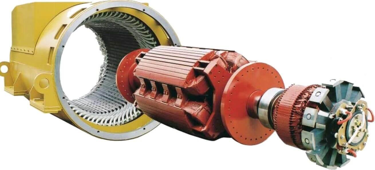 Внешний вид и запуск ротора синхронного электродвигателя с безщеточным возбуждением обмоткой возбуждения (не постоянными магнитами!)
