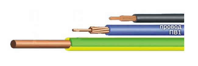 3 кабеля, надпись, параметры ПВ-1