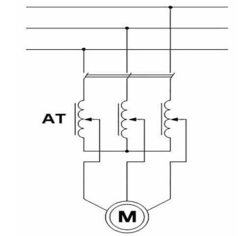 Схема подключения 3-х фазного асинхронного привода через реостат или ЛАТР, регулирование оборотов