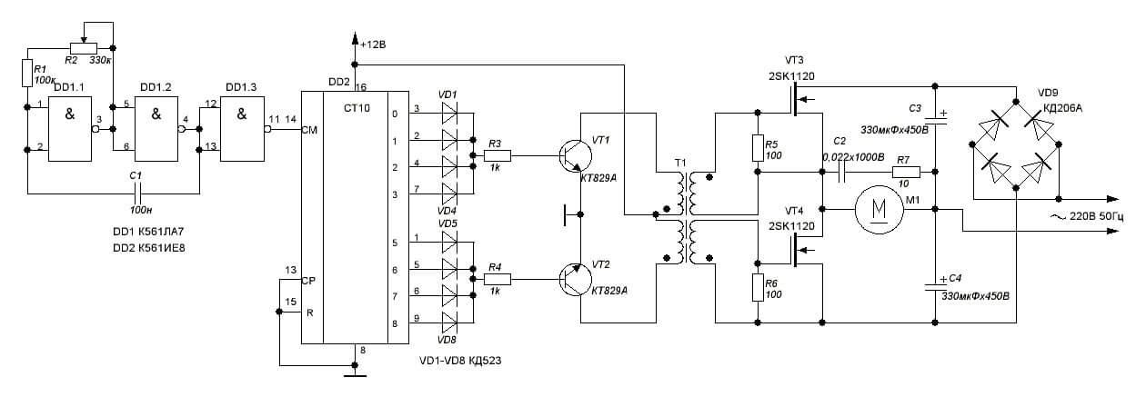 Схема частотного регулятора скорости АД