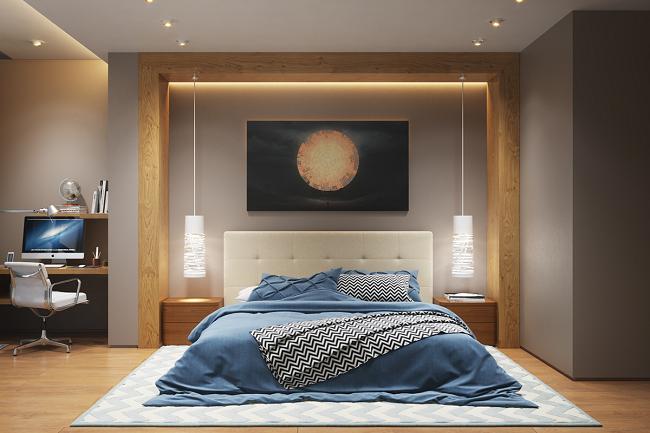 спальня с кроватью и компьютером