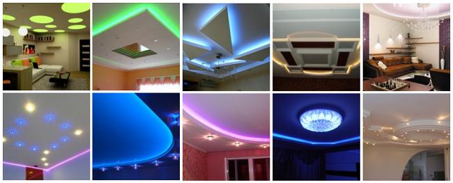 примеры освещения потолка, несколько вариантов