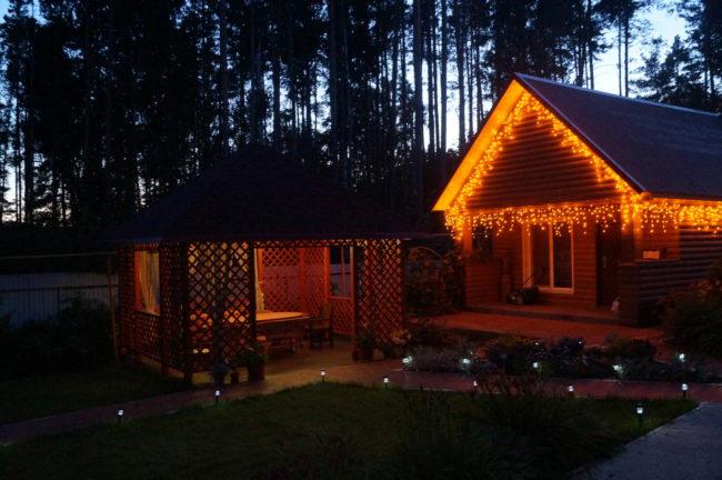 дом, беседка, деревья, ночь, электропроводка, виды