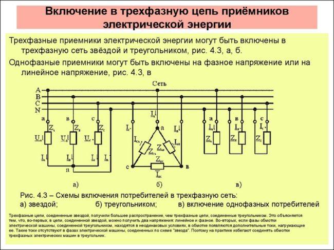 примеры подключения, провода фазные