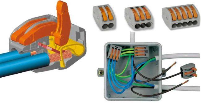 розетка для монтажа, проводка, зажимы, материалы