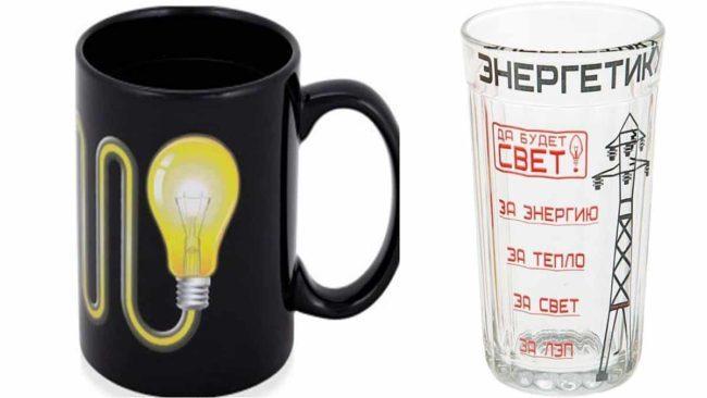 чашка и оригинальная стопка с надписями