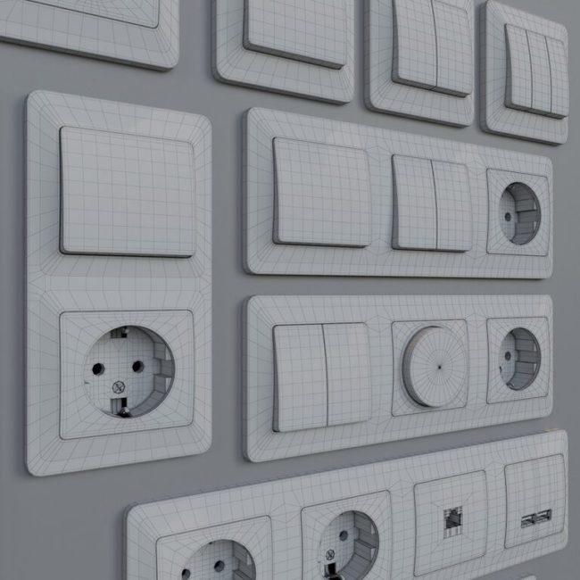 Розетки в комплекте и выключатели фирмы Шнайдер